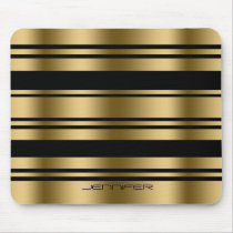 Gold And Black Stripes Pattern Mouse Pad