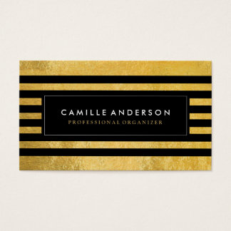 Gold and Black Stripes Template Business Cards
