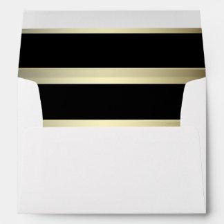 Gold and Black Stripes White Wedding Envelope