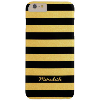 Gold and Black Stripes with Name Barely There iPhone 6 Plus Case
