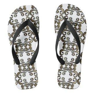 Gold and Black Swirl Flip Flops