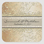 Gold and Black Swirl Square Wedding Seal Sticker