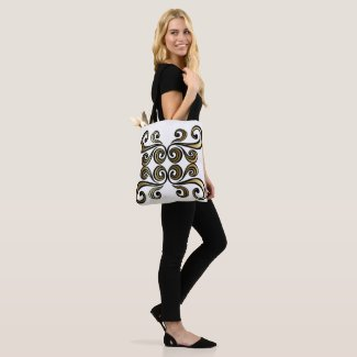 Gold and Black Swirl Tote Bag