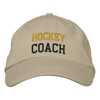 Gold and Black Text Hockey Coach Hat Embroidered Baseball Cap
