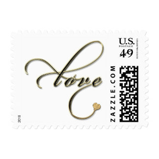 Gold And Black Text With Gold Heart Love Stamp