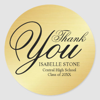 Gold and Black Thank You Graduation Stickers