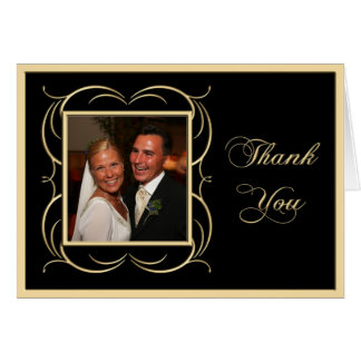 Gold and Black Thank You Photo Cards