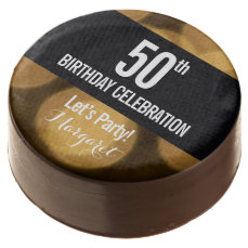 Gold and black theme, 50th birthday chocolate covered oreo