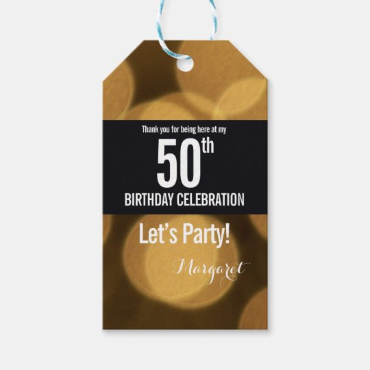 Gold And Black Theme 50th Birthday Gift Tags