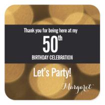 Gold and black theme, 50th birthday square sticker