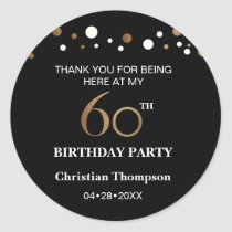 Gold and black theme 60th birthday party classic round sticker