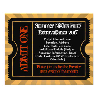 """Gold and Black Ticket Flyers, Custom Printing 4.5"""" X 5.6"""" Flyer"""