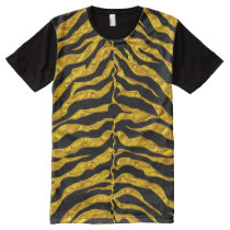 Gold And Black Tiger All-Over-Print T-Shirt