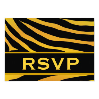 Gold and Black Tiger Print RSVP Wedding Response Card