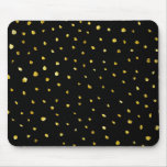 Gold and Black Torn Dots Faux Foil Metallic Starry Mouse Pad