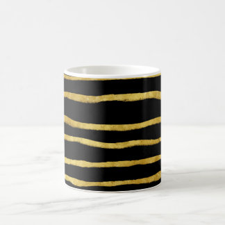 Gold and Black Torn Stripes Faux Foil Metallic Coffee Mug