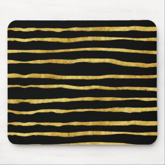 Gold and Black Torn Stripes Faux Foil Metallic Mouse Pad
