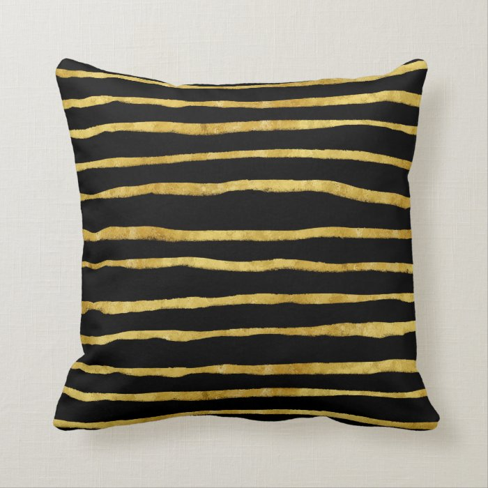 Gold and Black Torn Stripes Faux Foil Metallic Throw Pillow Zazzle