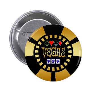 GOLD AND BLACK VEGAS POKER CHIP BUTTON