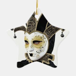 Gold and Black Venetian Carnivale Mask in Profile Ceramic Ornament