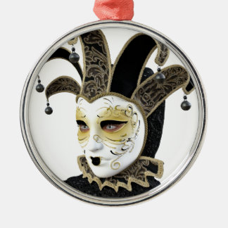 Gold and Black Venetian Carnivale Mask in Profile Metal Ornament