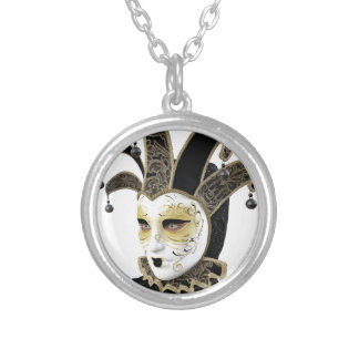 Gold and Black Venetian Carnivale Mask in Profile Silver Plated Necklace