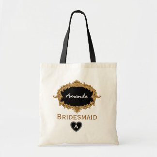 Gold and Black Vintage Bridesmaid Custom Name V06 Tote Bag