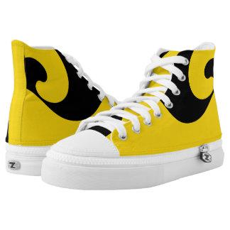 Gold and Black Wave Designer Hi-Top Printed Shoes