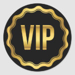 Gold and Black Wavy VIP Party Pass Classic Round Sticker