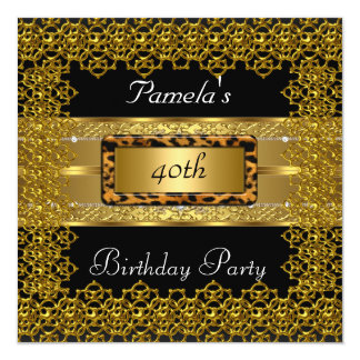 Gold and Black with Leopard Frame Birthday Party Card