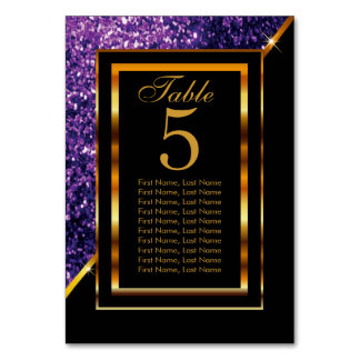 Gold and Black with Purple Glitter Card