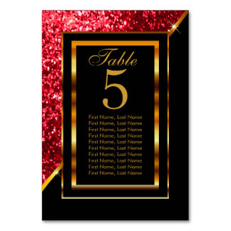 Gold and Black with Red Glitter Card