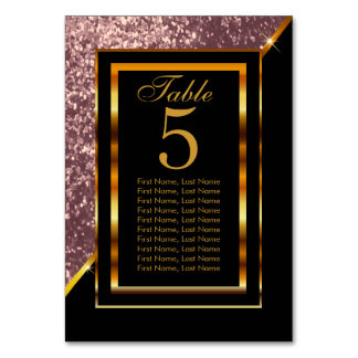 Gold and Black with Rose Gold Glitter Card