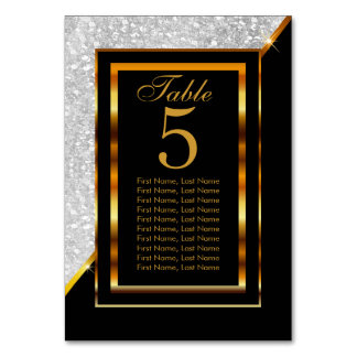 Gold and Black with White Glitter Card