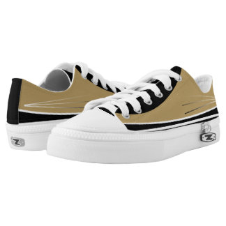 Gold and Black with White Trim Tres Lo-Tops Printed Shoes