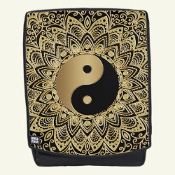 Gold and Black Yin Yang Mandala Backpack