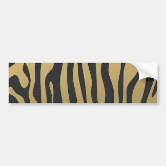 Gold and Black Zebra Stripes Pattern Bumper Sticker