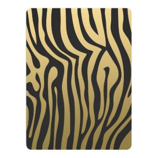 Gold and Black Zebra Stripes Pattern Card