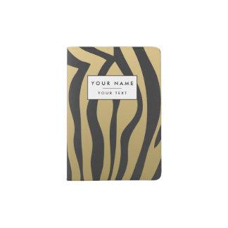 Gold and Black Zebra Stripes Pattern Passport Holder