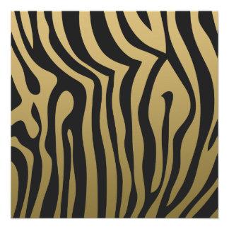 Gold and Black Zebra Stripes Pattern Poster