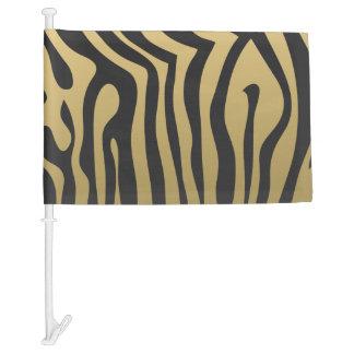 Gold and Black Zebra Stripes Pattern Car Flag
