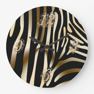 Gold and Black Zebra Wall Clock
