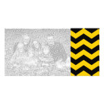 Gold and Black Zigzag Personalized Photo Card