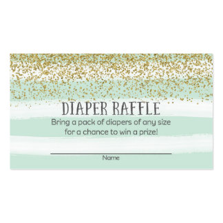 Gold and Blue Baby Shower Diaper Raffle Tickets Business Card