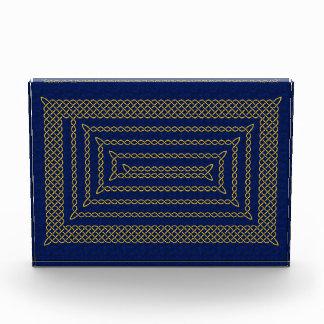 Gold And Blue Celtic Rectangular Spiral Award
