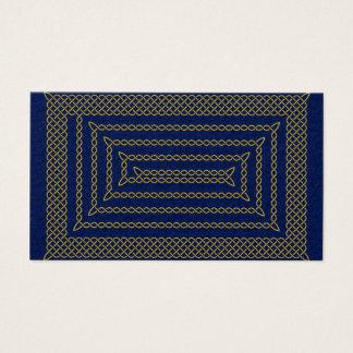 Gold And Blue Celtic Rectangular Spiral Business Card