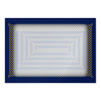 Gold And Blue Celtic Rectangular Spiral Card