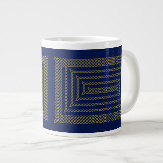Gold And Blue Celtic Rectangular Spiral Large Coffee Mug