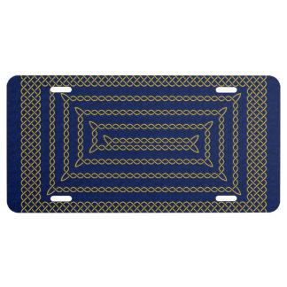 Gold And Blue Celtic Rectangular Spiral License Plate