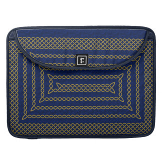 Gold And Blue Celtic Rectangular Spiral Sleeves For MacBook Pro